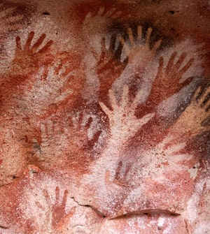 Gallery of Hands at Cave of the Castle, Spain - 40,000 years old at www.BlissfulVisions.com