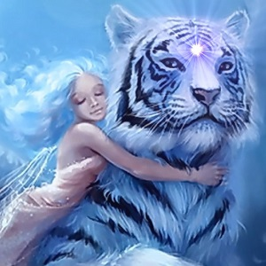 Fairy riding Tiger in 5D consciousness